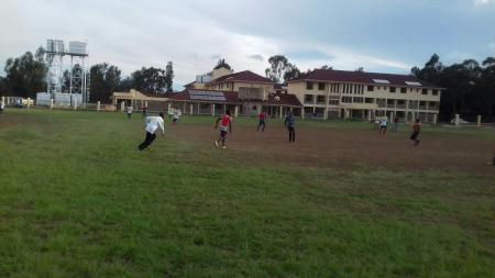 Seminarians playing soccer at the seminary of the Contemplative Evangelizers of Christ in Nairobi