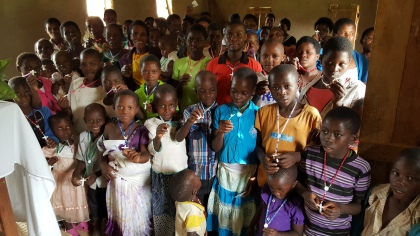 african educate children with rosaries